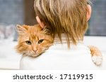 Stock photo the red cat sitting on a shoulder at the child 17119915