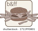 burger and french fries icon in ...
