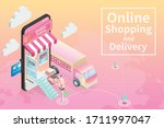 online shopping isometric on... | Shutterstock .eps vector #1711997047