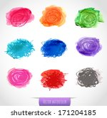 set of nine colored watercolor...