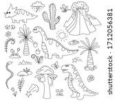 doodle dinosaurs. isolated... | Shutterstock .eps vector #1712056381