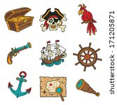 pirate icons set
