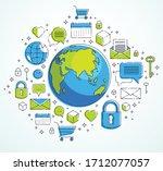 global communication concept ...   Shutterstock .eps vector #1712077057