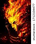 Fiery Girl Drawn In Anime Style....