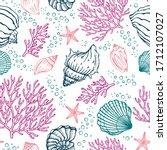seamless pattern with seashells ... | Shutterstock .eps vector #1712107027