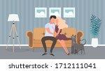 loving couple sitting on the... | Shutterstock .eps vector #1712111041