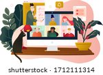 online meeting when working... | Shutterstock .eps vector #1712111314