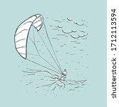 Kite Surfing. Sketch Vector...