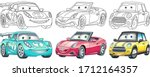 cute cartoon cars. coloring and ... | Shutterstock .eps vector #1712164357