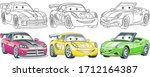 cute cartoon cars. coloring and ... | Shutterstock .eps vector #1712164387