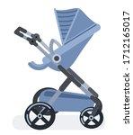 baby stroller in a flat cartoon ... | Shutterstock .eps vector #1712165017