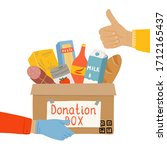 donation food box in hands of... | Shutterstock .eps vector #1712165437