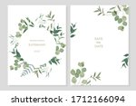 set of floral card with... | Shutterstock .eps vector #1712166094