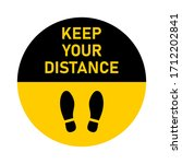 keep your distance round floor...   Shutterstock .eps vector #1712202841