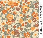 70s flowers seamless pattern ... | Shutterstock .eps vector #1712221831