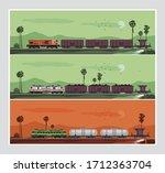 illustration of cargo trains... | Shutterstock .eps vector #1712363704