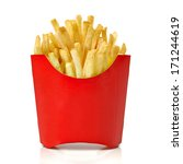 french fries in red fry box on... | Shutterstock . vector #171244619