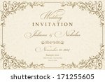 invitation cards in an old... | Shutterstock .eps vector #171255605