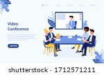 illustrated video conference... | Shutterstock .eps vector #1712571211