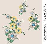 vector flower pattern on brown...   Shutterstock .eps vector #1712599147
