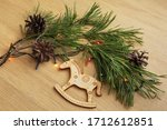 Wooden Christmas Horse Toy With ...