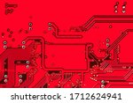 Abstract Red Printed Circuit...