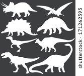 Vector Set Of White Dinosaurs...