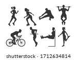 black silhouettes of fitness... | Shutterstock .eps vector #1712634814