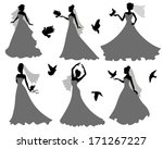 set of silhouettes of brides... | Shutterstock .eps vector #171267227
