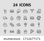 a simple set of fast food icons ... | Shutterstock .eps vector #1712677171