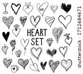 vector set of hand drawn hearts....   Shutterstock .eps vector #1712684671