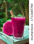 Dragon Fruit Smoothie In Glass...
