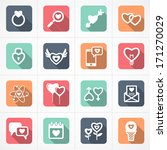 valentine's day icons and love icons set in flat style - stock vector