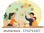 a happy family plays board...   Shutterstock .eps vector #1712711317