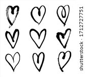 hand drawn heart outline set. ... | Shutterstock .eps vector #1712727751