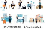 collection of men working at...   Shutterstock .eps vector #1712761021
