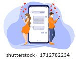 the young couple is on... | Shutterstock .eps vector #1712782234