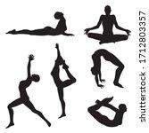 black female silhouettes in... | Shutterstock .eps vector #1712803357
