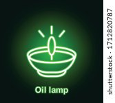 ramadan oil lamp outline neon...