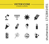 light source icons set with cfl ...