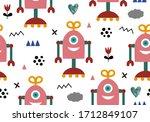 robot pattern for nursery ... | Shutterstock .eps vector #1712849107
