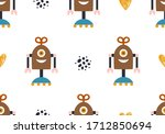 baby pattern with robot ... | Shutterstock .eps vector #1712850694