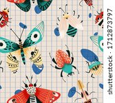 summer insects cute pattern... | Shutterstock .eps vector #1712873797