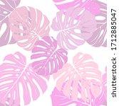 monstera leaves vector pattern... | Shutterstock .eps vector #1712885047