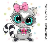 greeting card raccoon girl with ... | Shutterstock .eps vector #1712993257