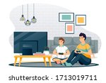 happy father and son play in... | Shutterstock .eps vector #1713019711