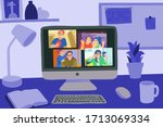 chatting with friends or family ... | Shutterstock .eps vector #1713069334