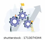 team building and leadership....   Shutterstock . vector #1713074344