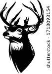 buck whitetail deer logo  great ... | Shutterstock .eps vector #1713093154