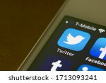 Small photo of Portland, OR, USA - Apr 22, 2020: Twitter mobile app icon is seen on a smartphone. Twitter is a microblogging & social networking service on which users post & interact with messages known as tweets.